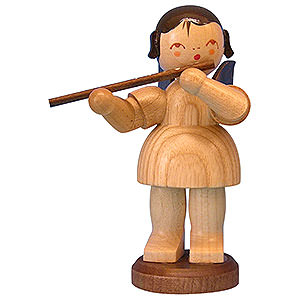 Angels Angels - natural - large Angel with Flute - Natural Colors - Standing - 9,5 cm / 3,7 inch