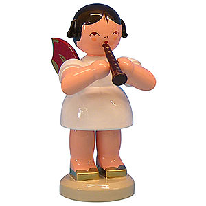 Angels Angels - red wings - large Angel with Flute - Red Wings - Standing - 9,5 cm / 3,7 inch