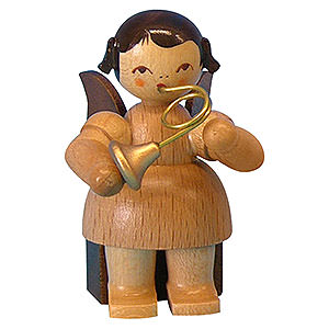 Angels Angels - natural - small Angel with French Horn - Natural Colors - Sitting - 5 cm / 2 inch