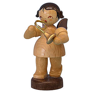 Angels Angels - natural - small Angel with French Horn - Natural Colors - Standing - 6 cm / 2,3 inch