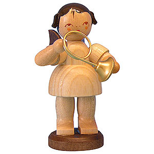 Angels Angels - natural - large Angel with French Horn - Natural Colors - Standing - 9,5 cm / 3,7 inch