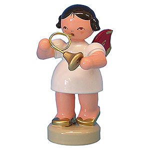 Angels Angels - red wings - small Angel with French Horn - Red Wings - Standing - 6 cm / 2,3 inch