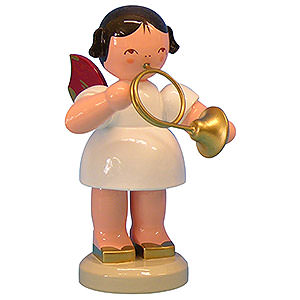 Angels Angels - red wings - large Angel with French Horn - Red Wings - Standing - 9,5 cm / 3,7 inch