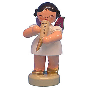Angels Angels - red wings - small Angel with Gemshorn - Red Wings - Standing - 6 cm / 2,3 inch