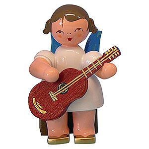 Angels Angels - blue wings - small Angel with Guitar - Blue Wings - Sitting - 5 cm / 2 inch