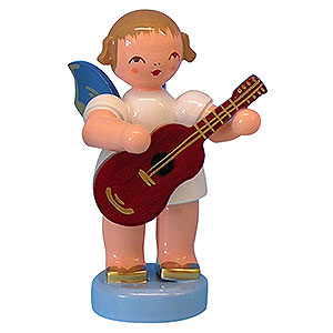 Angels Angels - blue wings - small Angel with Guitar - Blue Wings - Standing - 6 cm / 2,3 inch