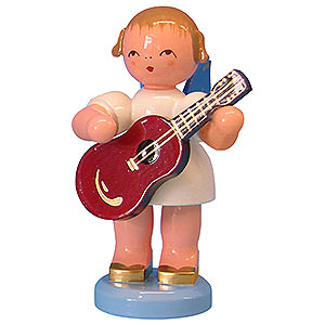 Angels Angels - blue wings - large Angel with Guitar - Blue Wings - Standing - 9,5 cm / 3,7 inch