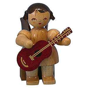Angels Angels - natural - small Angel with Guitar - Natural Colors - Sitting - 5 cm / 2 inch