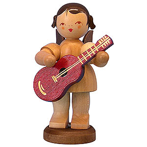 Angels Angels - natural - large Angel with Guitar - Natural Colors - Standing - 9,5 cm / 3,7 inch
