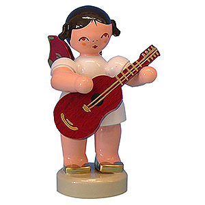 Angels Angels - red wings - small Angel with Guitar - Red Wings - Standing - 6 cm / 2,3 inch