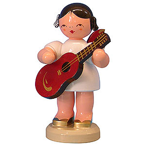 Angels Angels - red wings - large Angel with Guitar - Red Wings - Standing - 9,5 cm / 3,7 inch