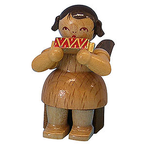 Angels Angels - natural - small Angel with Harmonica - Natural Colors - Sitting - 5 cm / 2 inch
