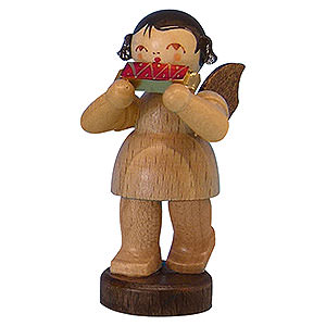 Angels Angels - natural - small Angel with Harmonica - Natural Colors - Standing - 6 cm / 2,3 inch