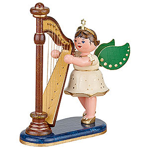 Angels Orchestra (Hubrig) Angel with Harp - 10 cm / 4 inch