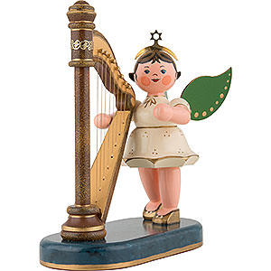Angels Angels - white (Hubrig) Angel with Harp - 16 cm / 6 inch