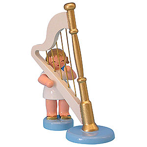 Angels Angels - blue wings - small Angel with Harp - Blue Wings - Standing - 6 cm / 2,3 inch