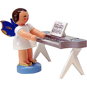 Angels Angels - blue wings - small Angel with Keyboard - Blue Wings - Standing - 6 cm / 2.3 inch