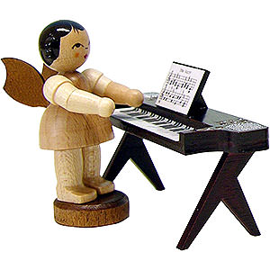 Angels Angels - natural - small Angel with Keyboard - Natural - Standing - 6 cm / 2.3 inch