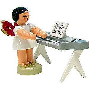 Angels Angels - red wings - small Angel with Keyboard - Red Wings - Standing - 6 cm / 2.3 inch
