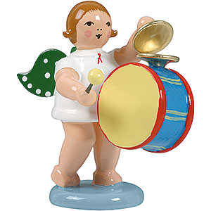 Angels Orchestra (Ellmann) Angel with Large Drum and Cymbal - 6,5 cm / 2.5 inch