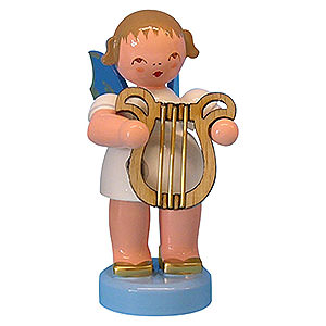 Angels Angels - blue wings - small Angel with Lyre - Blue Wings - Standing - 6 cm / 2,3 inch