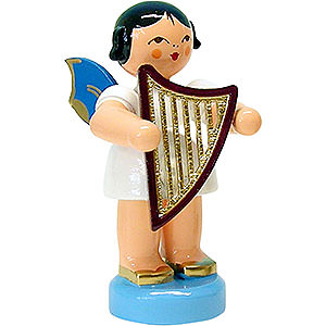 Angels Angels - blue wings - small Angel with Lyre - Blue Wings - Standing - 6 cm / 2.3 inch