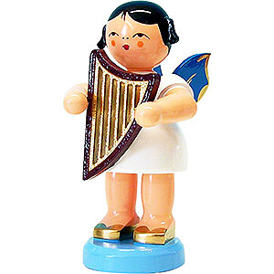 Angels Angels - blue wings - large Angel with Lyre - Blue Wings - Standing - 9,5 cm / 3.7 inch