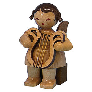 Angels Angels - natural - small Angel with Lyre - Natural Colors - Sitting - 5 cm / 2 inch