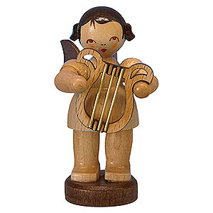 Angels Angels - natural - small Angel with Lyre - Natural Colors - Standing - 6 cm / 2,3 inch