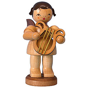 Angels Angels - natural - large Angel with Lyre - Natural Colors - Standing - 9,5 cm / 3,7 inch