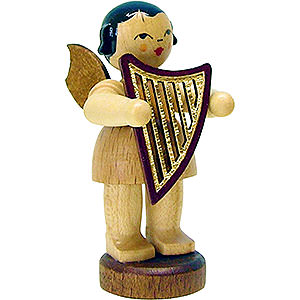 Angels Angels - natural - small Angel with Lyre - Natural - Standing - 6 cm / 2.3 inch