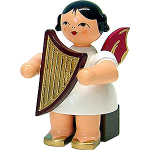 Angels Angels - red wings - small Angel with Lyre - Red Wings - Sitting - 5 cm / 2 inch