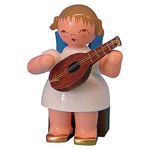 Angels Angels - blue wings - small Angel with Mandolin - Blue Wings - Sitting - 5 cm / 2 inch