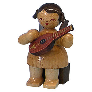 Angels Angels - natural - small Angel with Mandolin - Natural Colors - Sitting - 5 cm / 2 inch