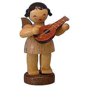 Angels Angels - natural - small Angel with Mandolin - Natural Colors - Standing - 6 cm / 2,3 inch