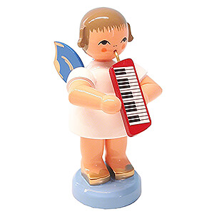 Angels Angels - blue wings - large Angel with Melodica - Blue Wings - Standing - 9,5 cm / 3.7 inch