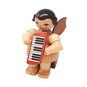 Angels Angels - natural - small Angel with Melodica - Natural Colors - Sitting - 5 cm / 2 inch