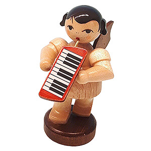 Angels Angels - natural - small Angel with Melodica - Natural Colors - Standing - 6 cm / 2.4 inch