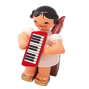 Angels Angels - red wings - small Angel with Melodica - Red Wings - Sitting - 5 cm / 2 inch