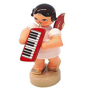 Angels Angels - red wings - small Angel with Melodica - Red Wings - Standing - 6 cm / 2.4 inch