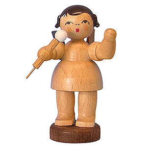 Angels Angels - natural - small Angel with Microphone - Natural Colors - Standing - 6 cm / 2,3 inch