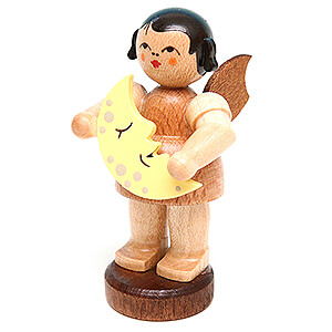 Angels Angels - natural - small Angel with Moon - Natural Colors - Standing - 6 cm / 2.4 inch