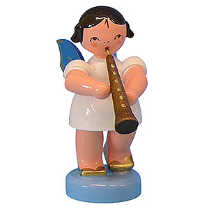 Angels Angels - blue wings - small Angel with Oboe - Blue Wings - Standing - 6 cm / 2,3 inch