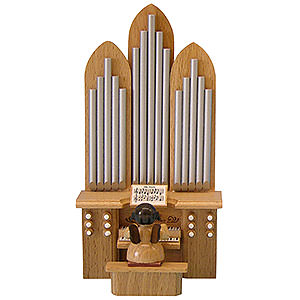 Angels Angels - natural - small Angel with Organ - Natural Colors - Standing - 6 cm / 2,3 inch