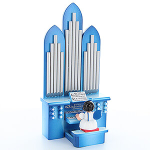 Angels Angels - blue wings - small Angel with Organ with Musical Mechanism