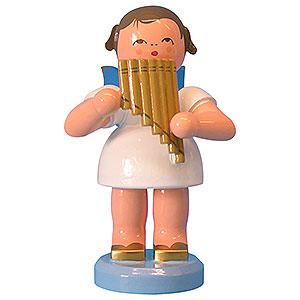 Angels Angels - blue wings - large Angel with Pan Pipe - Blue Wings - Standing - 9,5 cm / 3,7 inch