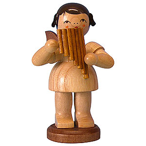 Angels Angels - natural - large Angel with Pan Pipe - Natural Colors - Standing - 9,5 cm / 3,7 inch
