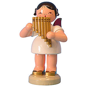 Angels Angels - red wings - large Angel with Pan Pipe - Red Wings - Standing - 9,5 cm / 3,7 inch