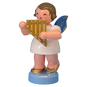 Angels Angels - blue wings - small Angel with Panpipe - Blue Wings - Standing - 6 cm / 2,3 inch
