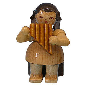 Angels Angels - natural - small Angel with Panpipe - Natural Colors - Sitting - 5 cm / 2 inch